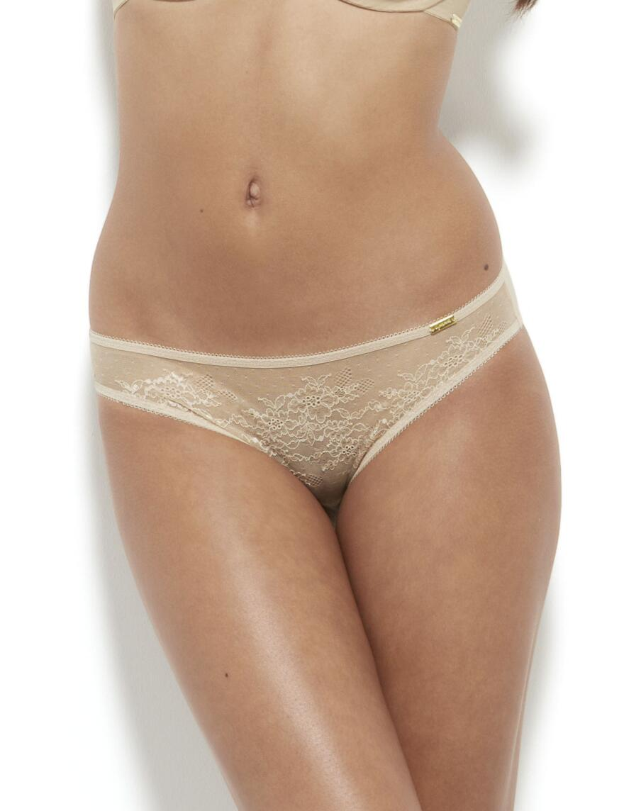 Glossies Lace Thong - Nude
