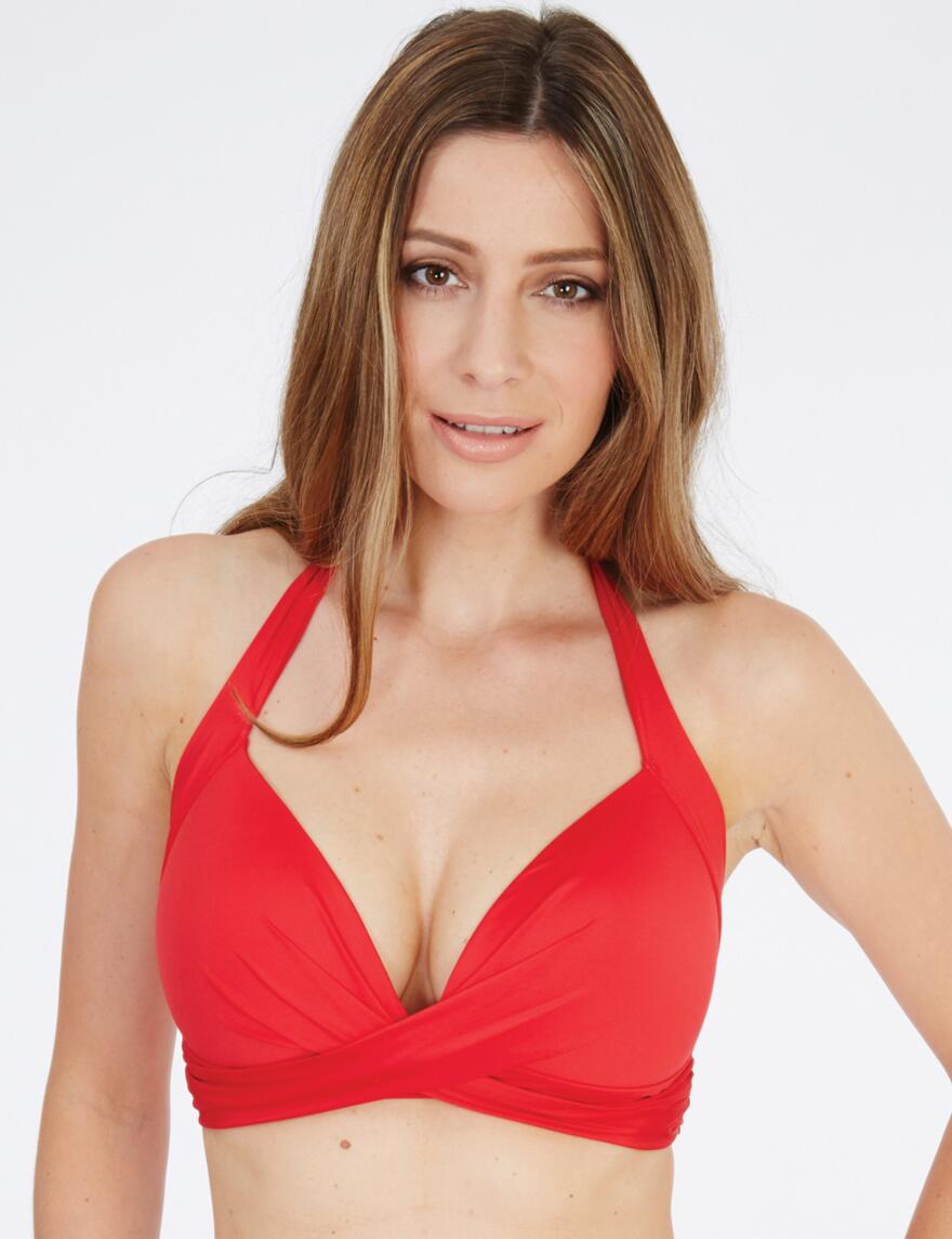 Lepel Lagoon Halter Triangle Bikini Top - Red