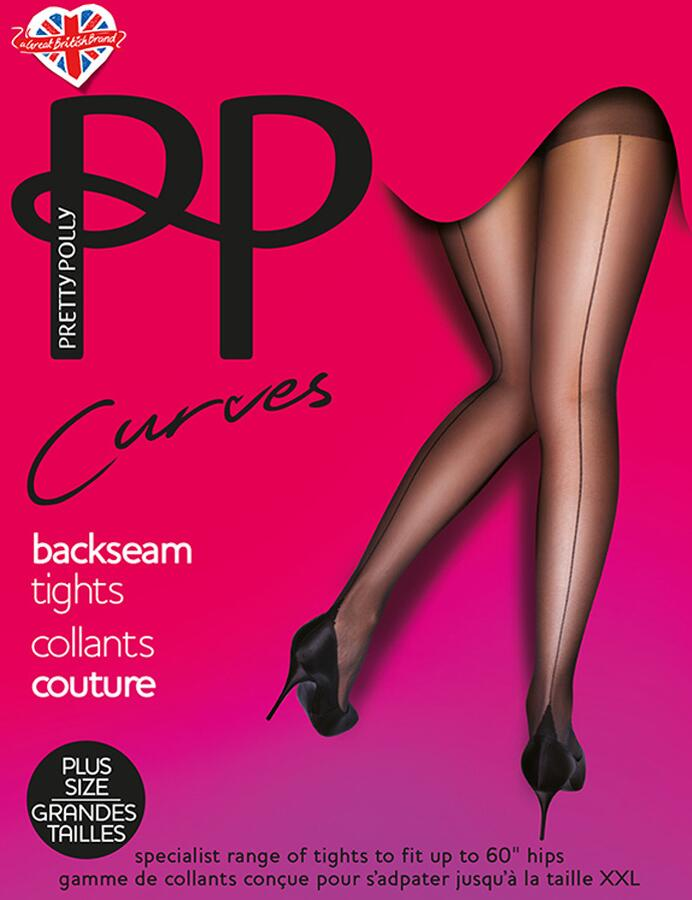 Pretty Polly Curves Fun & Flirty Tights - Backseam Nude/Black