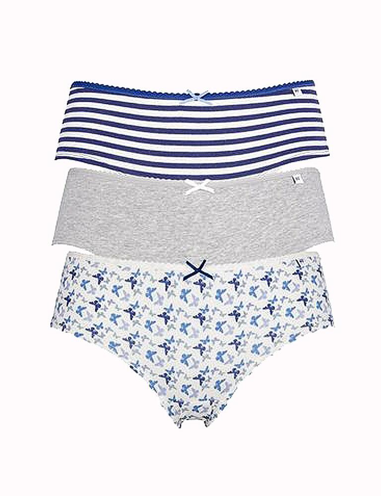 Pretty Polly Alice Hipster Briefs - 3 Pack - Blue Butterfly