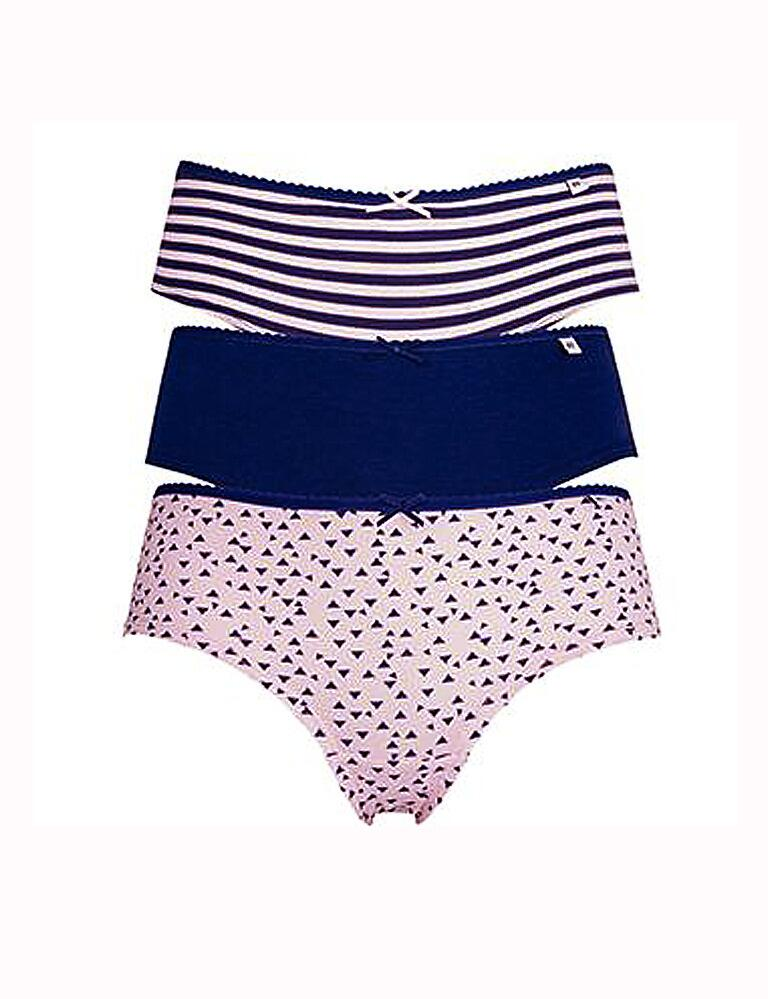 Pretty Polly Alice Hipster Briefs - 3 Pack - Pink/Navy Abstract