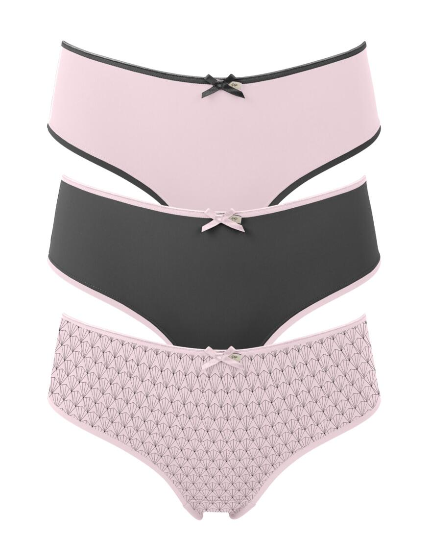 Pretty Polly Olivia Boy Short  - 3 Pack - Pink/Black