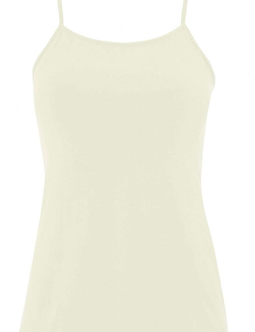 Nicola Jane Poppy 95% Cotton Fitted Strappy Top  - Champagne