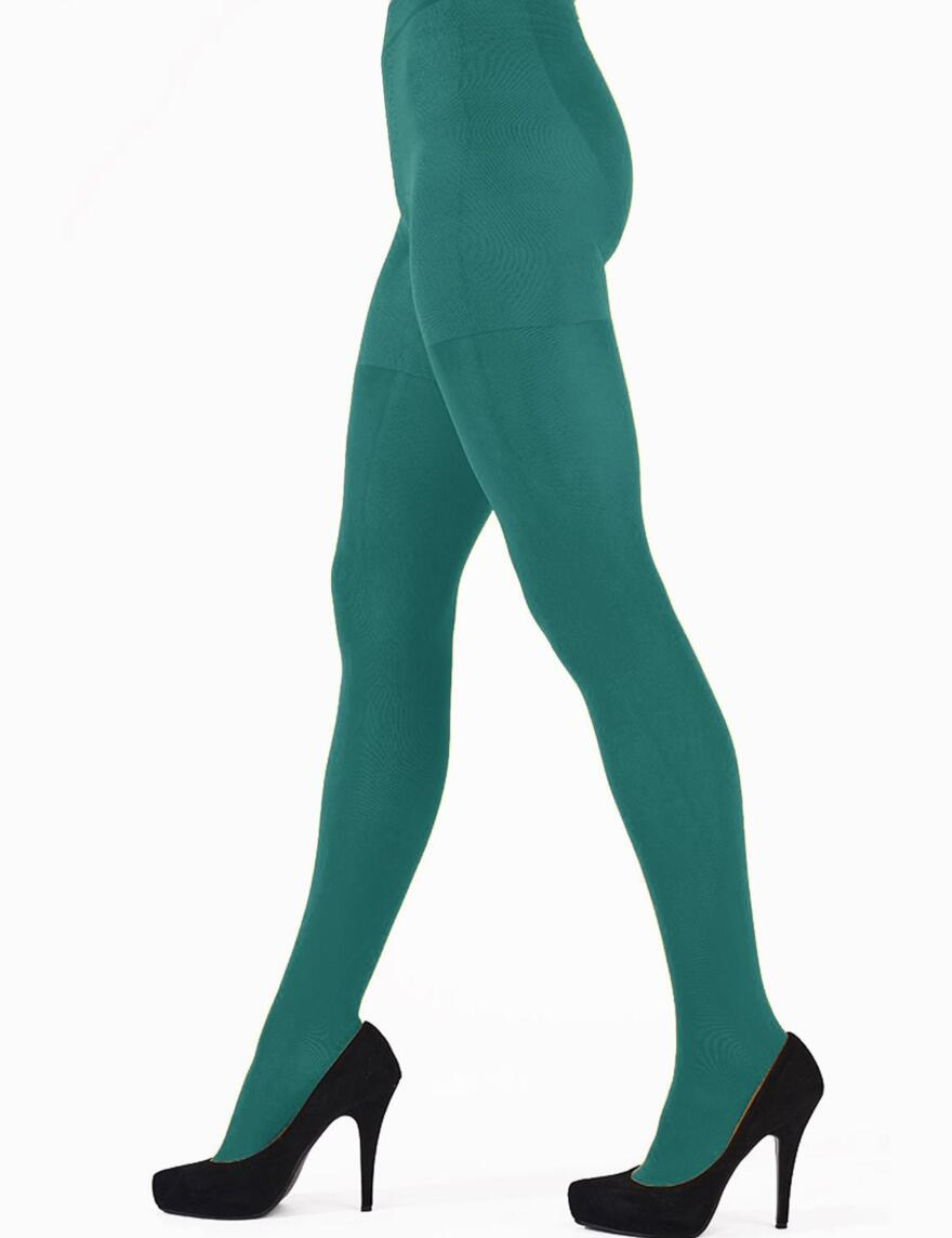 Pretty Polly 60 Denier 3D Colour Opaque Tights - Girl In Green
