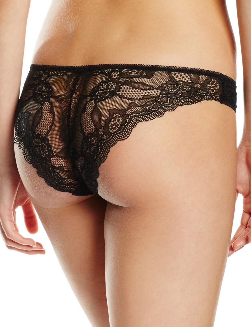 Pretty Polly Lola Lacy Brazilian Briefs  - Black/Nude