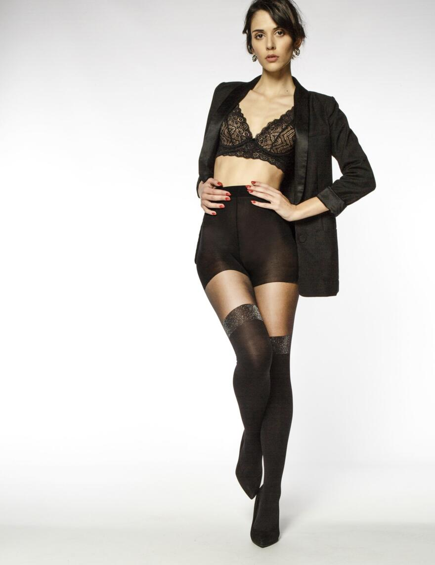 Andrea Bucci Lurex Mock Hold Ups  - Black