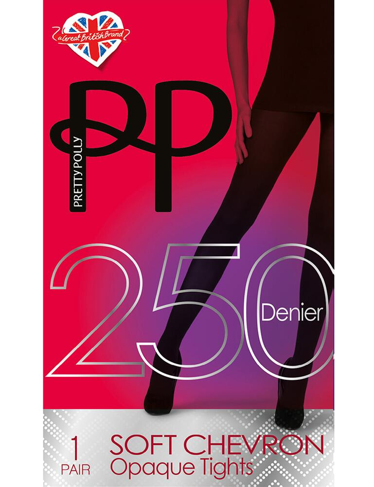 Pretty Polly Chevron Textured 250 Denier Tights - Black