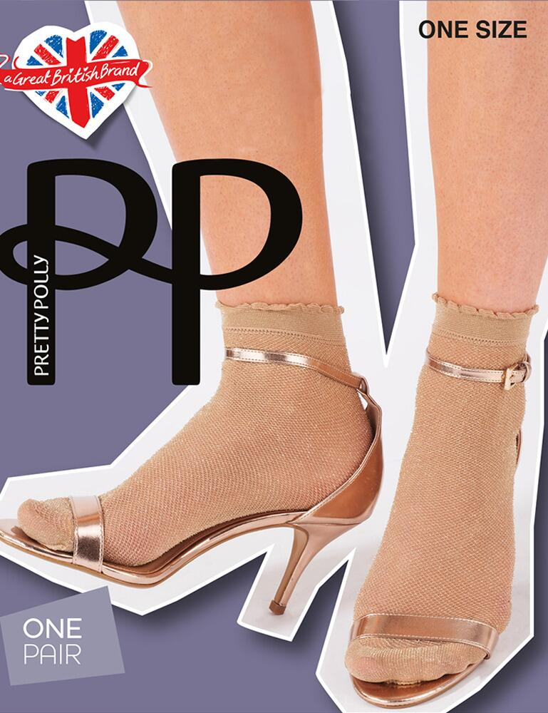 Pretty Polly Lurex Mesh Anklets - Nude/Gold