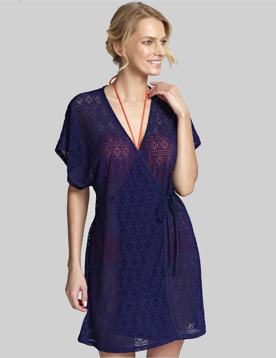 Panache Crochet Wrap Sun Dress - Navy