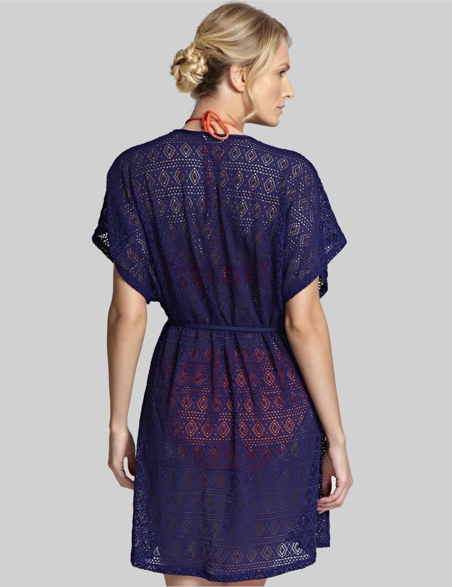 Panache Crochet Wrap Sun Dress - Navy