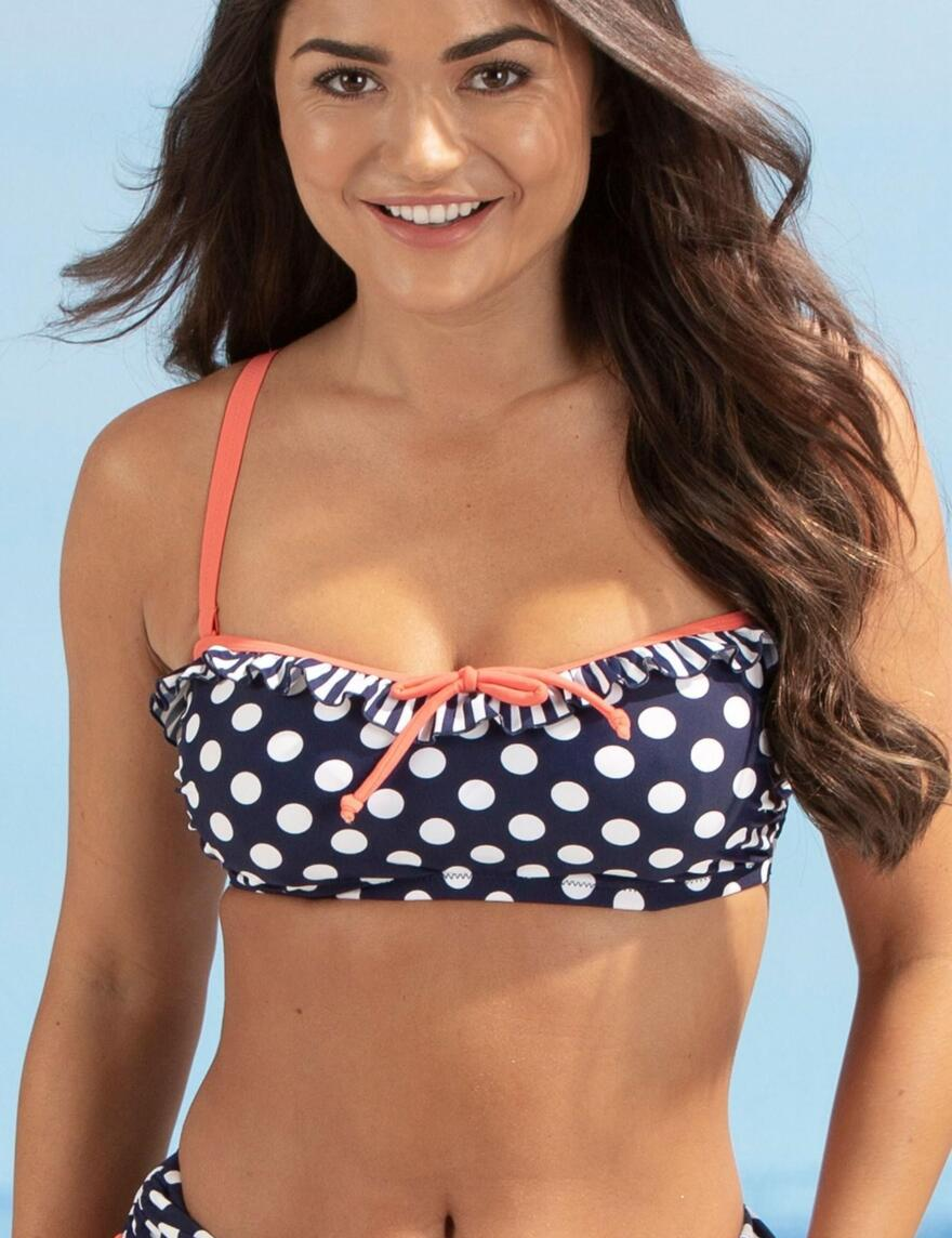 Pour Moi Sea Breeze Bandeau Underwired Bikini Top - 13301 - Navy/Coral