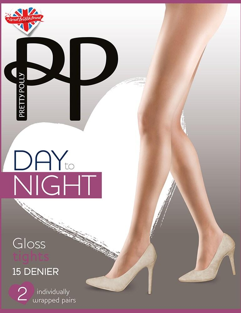 Pretty Polly Day To Night 15 Denier Gloss Tights  - Black