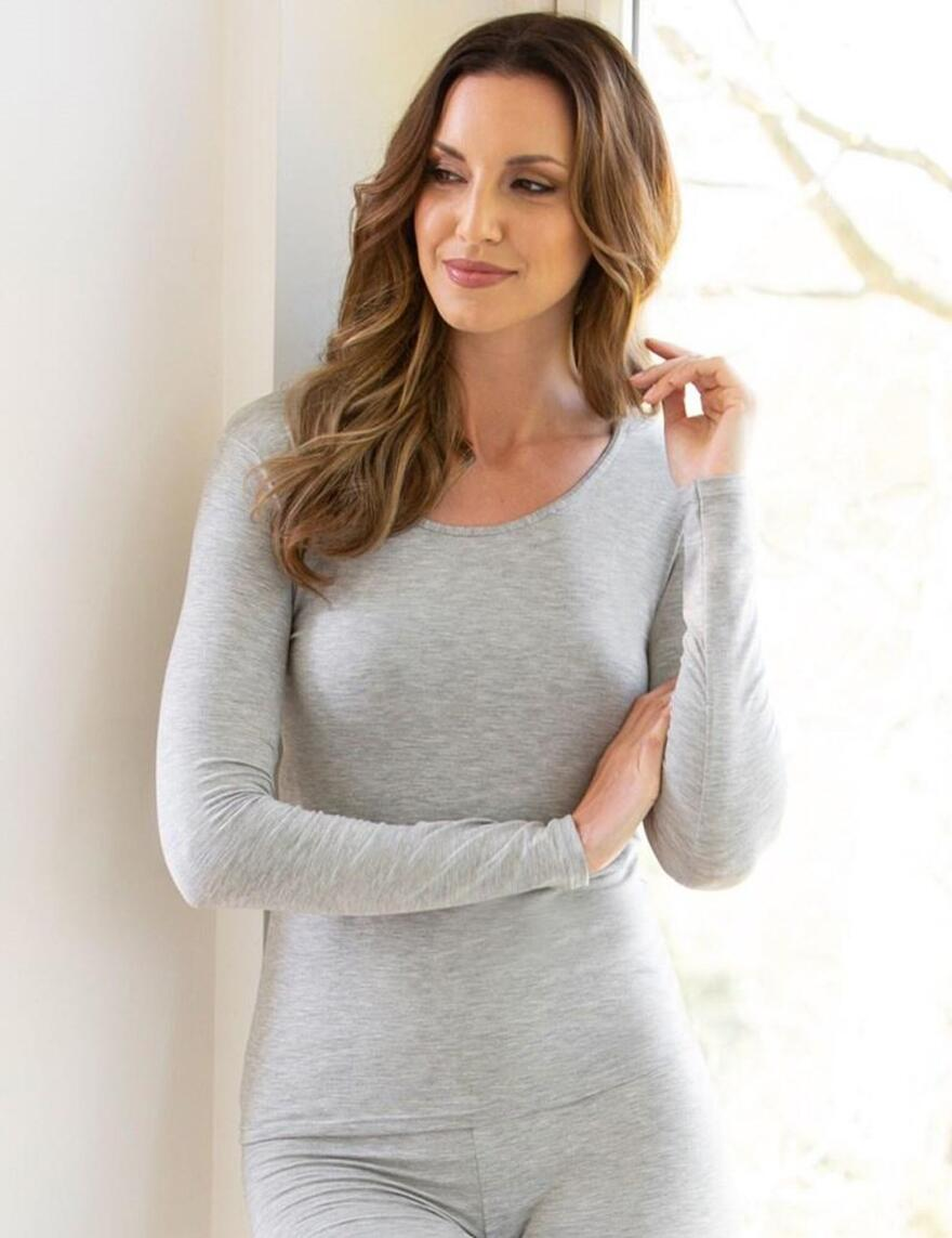 Charnos Second Skin Thermal Long Sleeve Vest Top - New Grey
