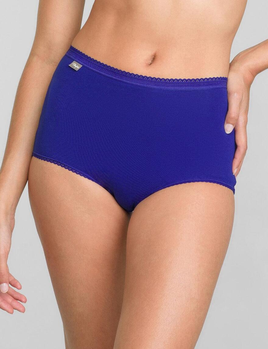 Playtex Cotton Stretch Maxi Briefs - Wine/Blue/White