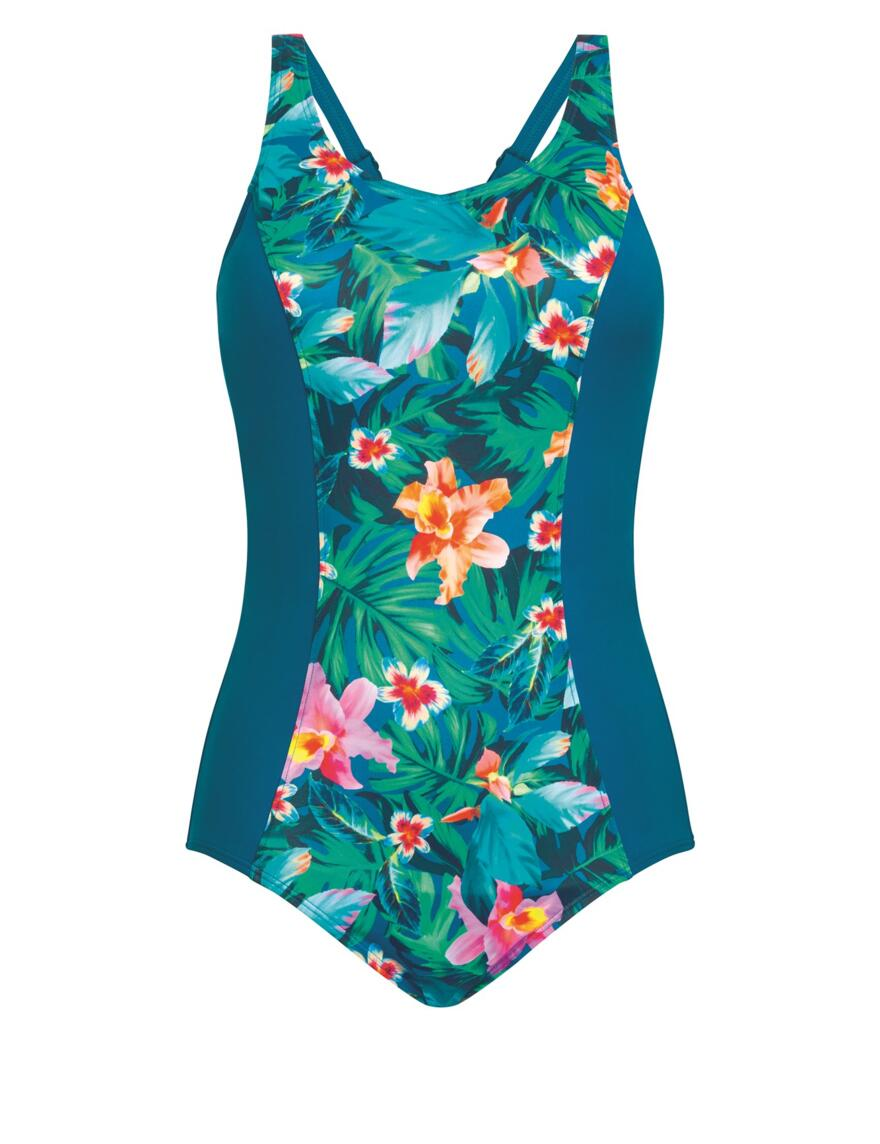 Amoena Mauritius Swimsuit - Pocketed - Teal Multi