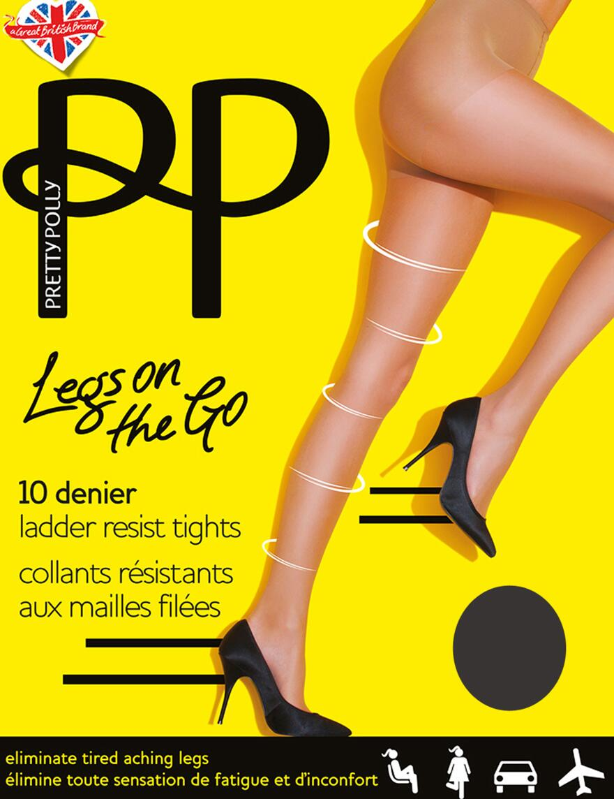 Pretty Polly Legs On The Go 10 Denier Tights - Barely Black