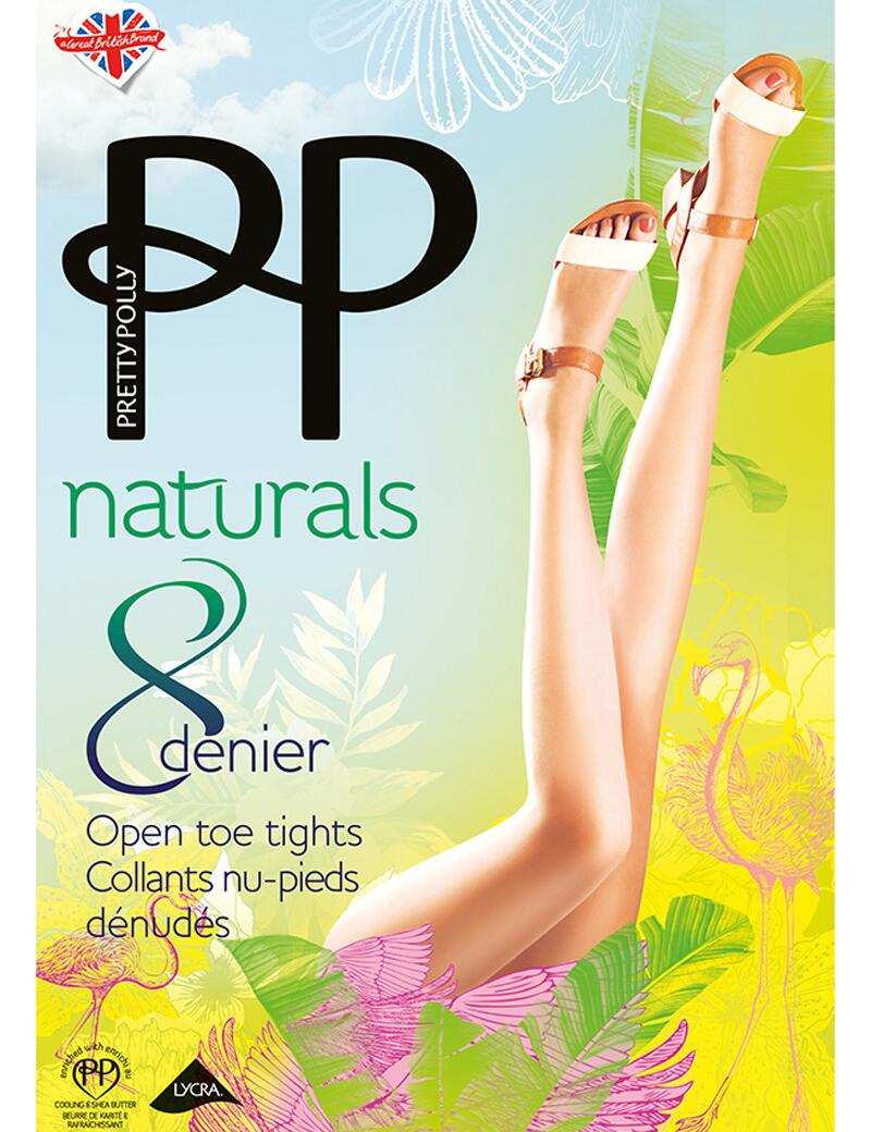 Pretty Polly Naturals 8 Denier Open Toe Tights - Slightly Sunkissed
