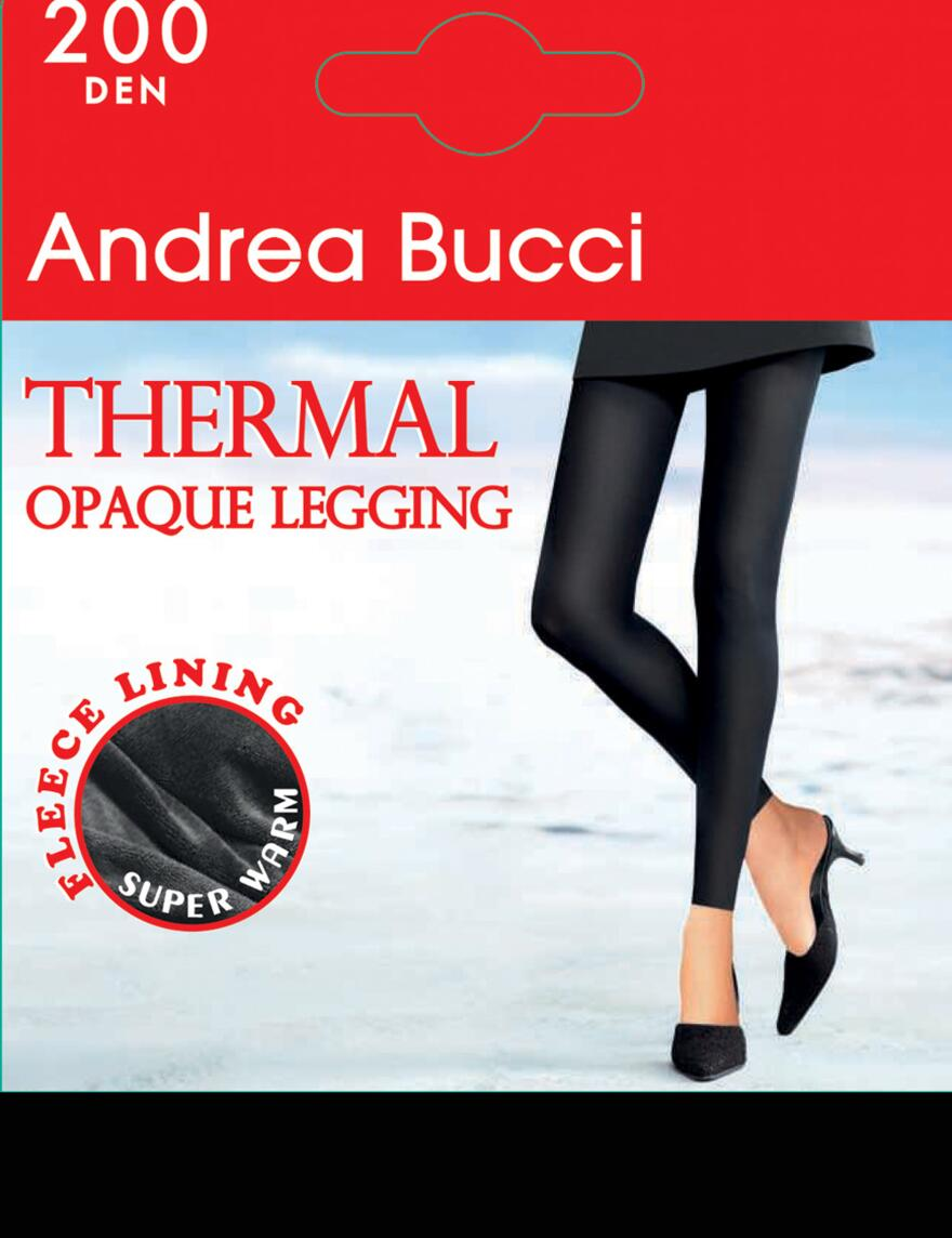 Andrea Bucci 200 Denier Thermal Footless Tights - Black