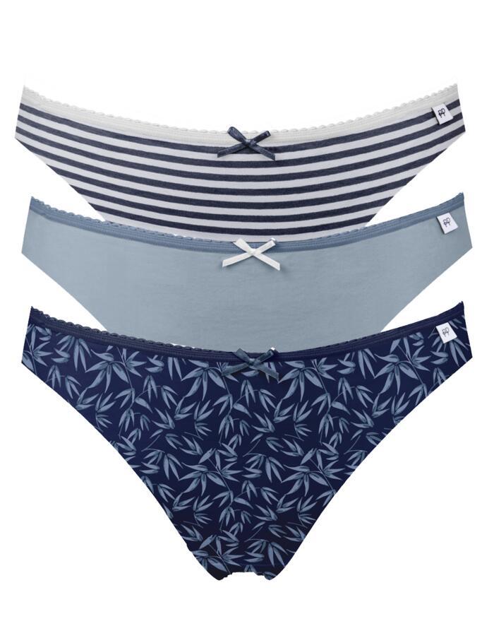 Pretty Polly Alice Bikini Briefs - 3 Pack - Oriental Blue