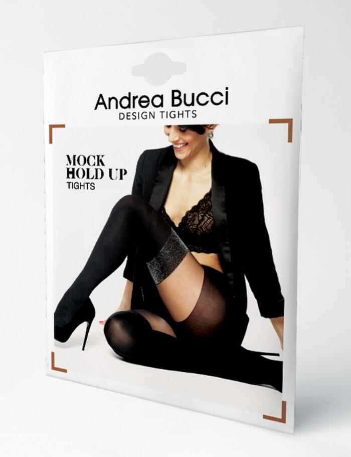 Andrea Bucci Fashion Tights - Lurex Mock Hold Ups Tights