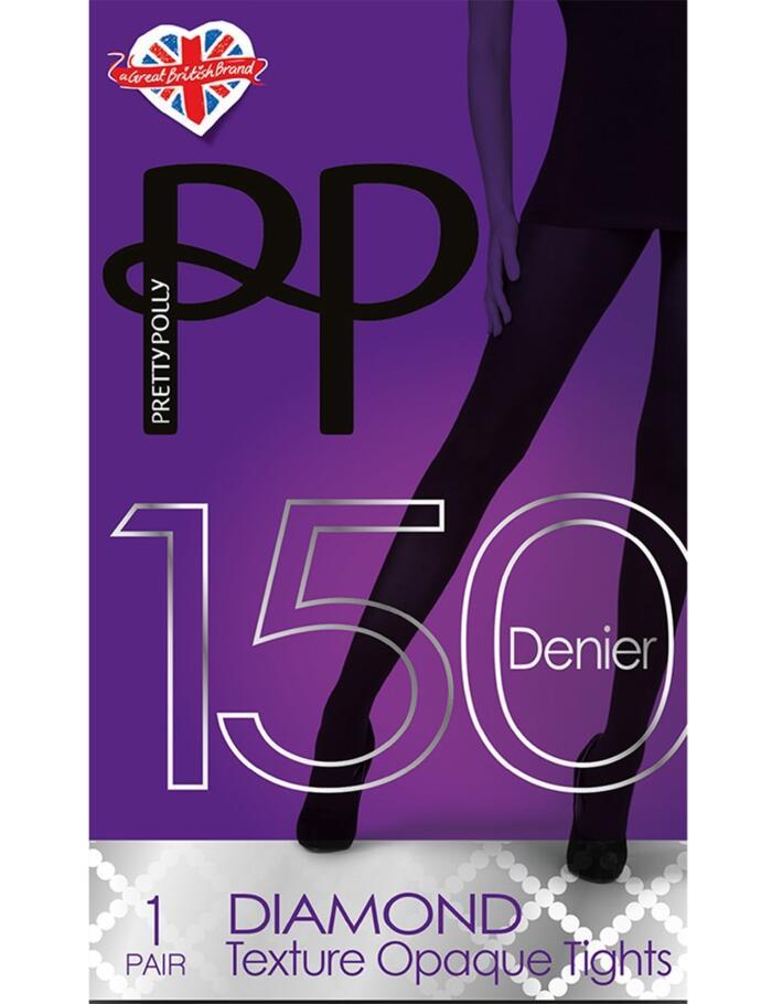Pretty Polly Diamond Textured 150 Denier Tights - Grey