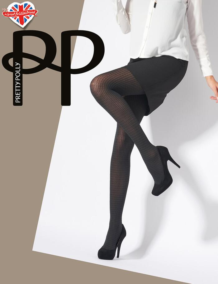 Pretty Polly Dogtooth Semi Opaque Tights - Black/Grey