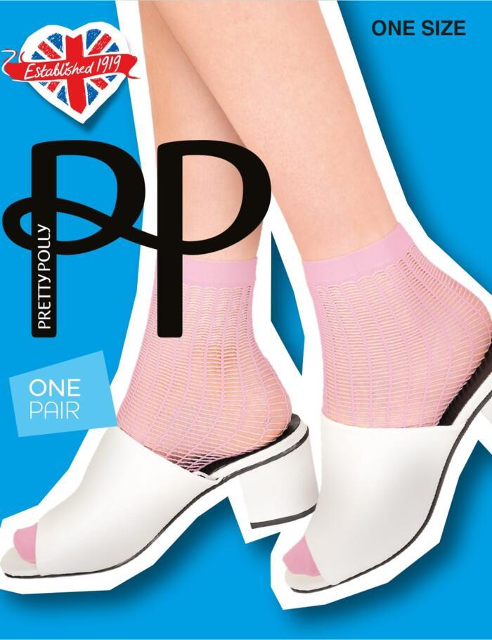 Pretty Polly Ladder Net Ankle Socks - Pink