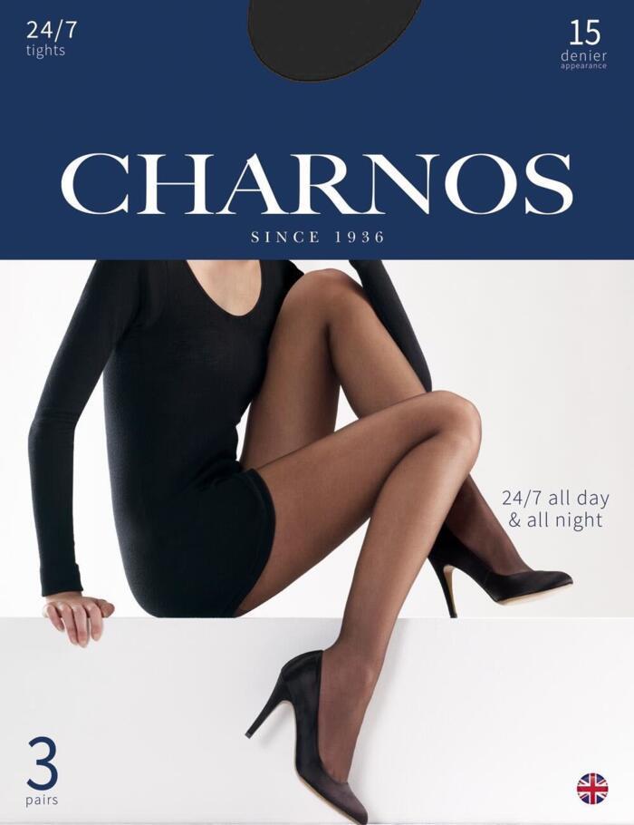 Charnos 15 Denier Tights 24/7 - 3 Pack - CAJG - Black