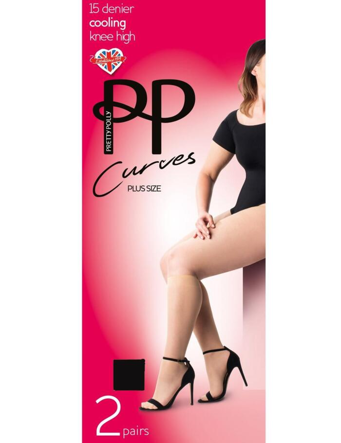 Pretty Polly Curves Cooling 15 Denier Knee Highs - 2 Pack - Black