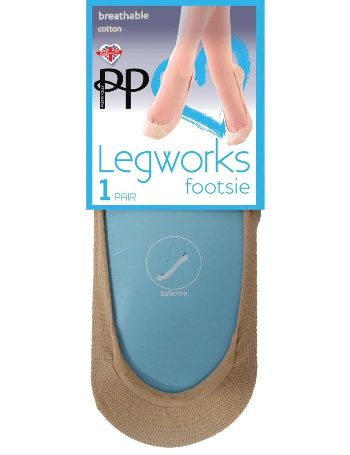 Pretty Polly Legworks Breathable Cotton Mesh Footsies - Nude