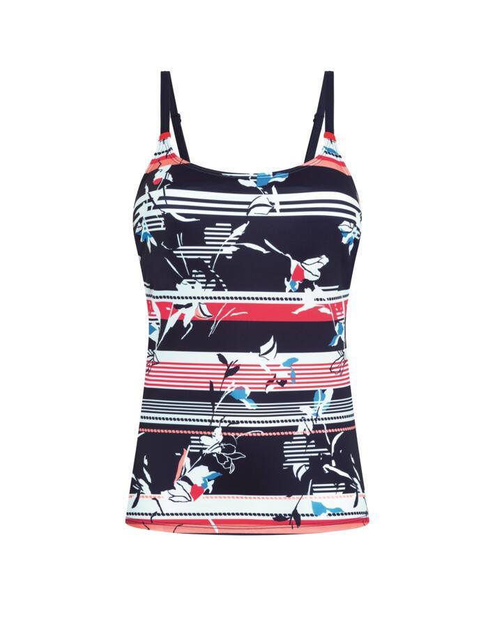 Amoena Capri Tankini Swim Top - Pocketed - Dark Blue Multi