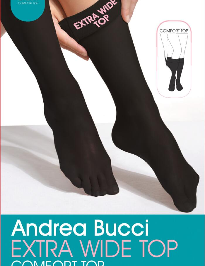 Andrea Bucci Extra Wide Comfort Knee Highs - 60 Denier - Natural